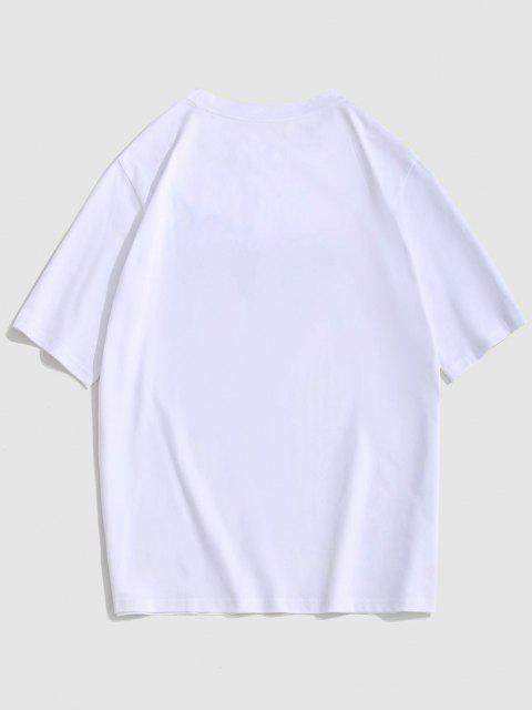 ZAFUL Fandom Flame Print Graphic T-shirt - أبيض 2XL Mobile