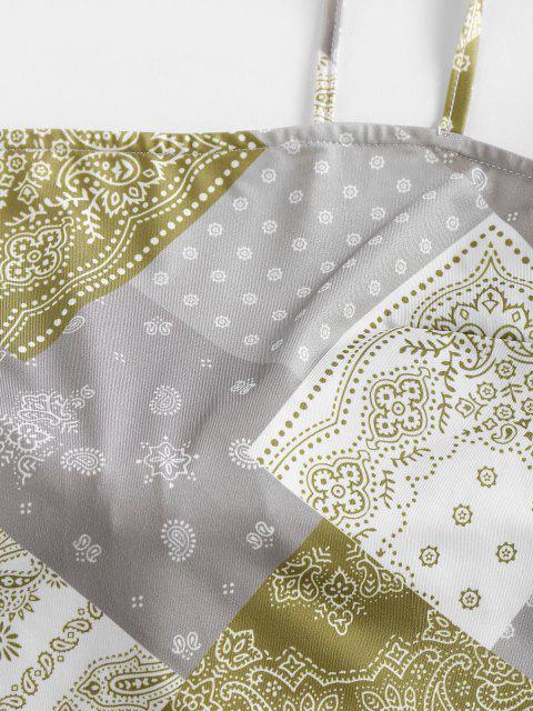 ZAFUL Haut à Bretelle Noué Au Dos Cachemire Imprimé Style Bohémien - Vert clair S Mobile