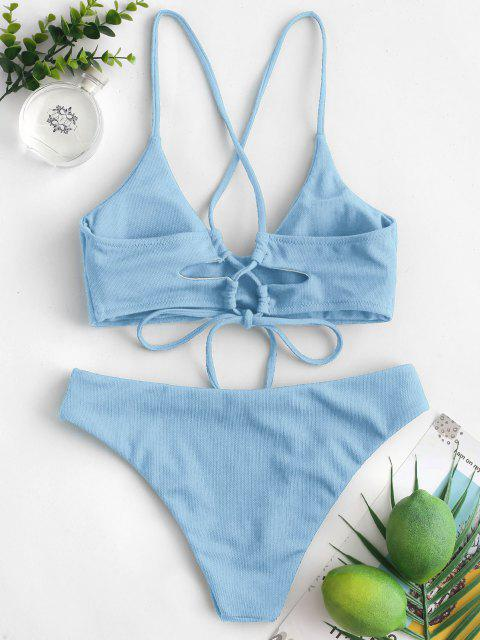 ZAFUL Maillot de Bain Bikini Rembourré Texturé Croisé - Bleu Toile de Jean L Mobile