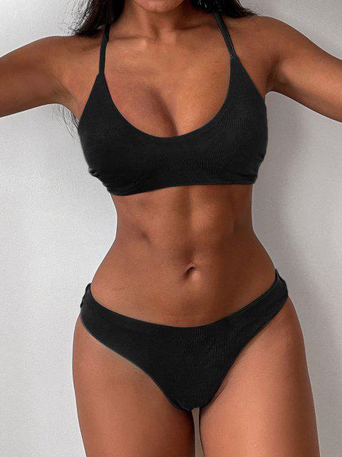 latest ZAFUL Criss Cross Textured Padded Bikini Swimsuit - BLACK M Mobile