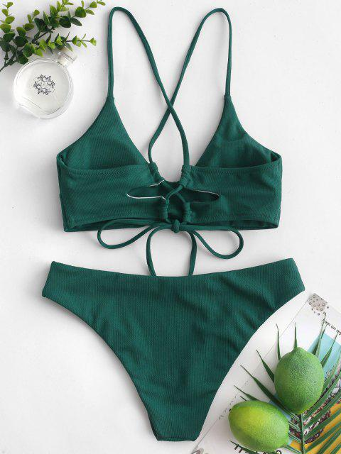 shops ZAFUL Criss Cross Textured Padded Bikini Swimsuit - DEEP GREEN M Mobile
