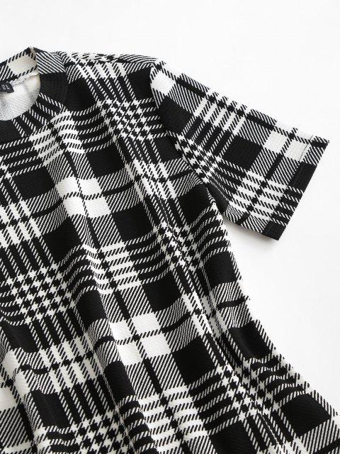 Mini-Robe Moulante à Carreaux - Noir XL Mobile