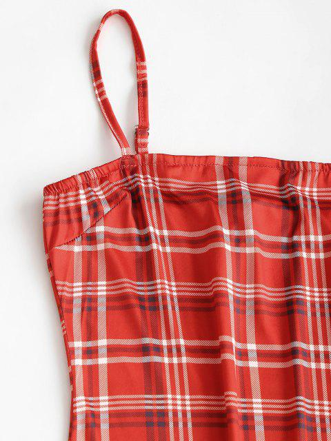 outfits Plaid Cami Bodycon Dress - RED M Mobile