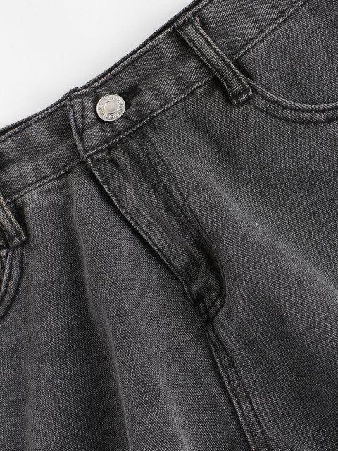 ladies Frayed Hem Pocket Mini Denim Shorts - DARK GRAY S Mobile