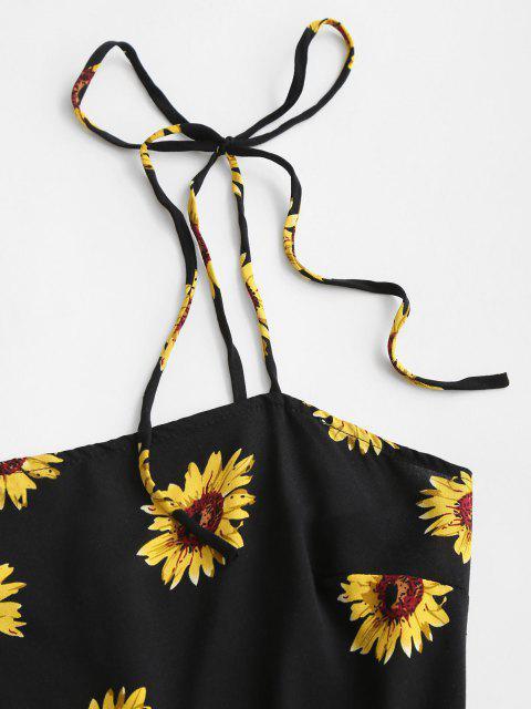 unique Flower Print Tie Shoulder Mini Dress - BLACK M Mobile