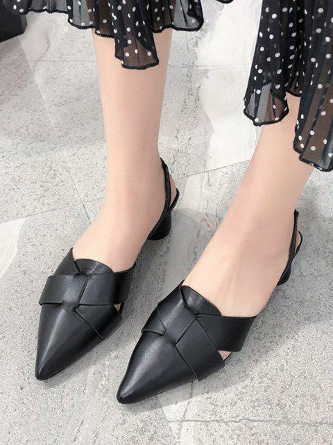 trendy Pointed Toe Cross Block Heel Sandals - BLACK EU 38 Mobile