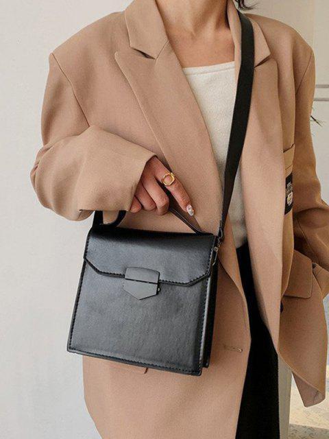 outfits PU Retro Solid Crossbody Bag - BLACK  Mobile
