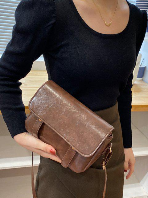 women Retro Crossbody Messenger Bag - DEEP BROWN  Mobile