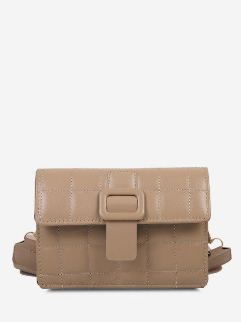 lady Buckle Rectangle Quilted Crossbody Bag - LIGHT KHAKI  Mobile