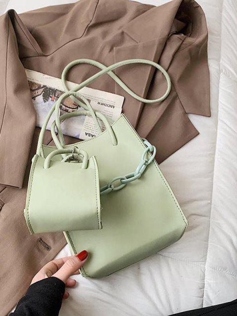 new 2Pcs Rectangle Chain Tote Bag Set - LIGHT GREEN  Mobile