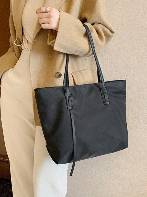 fancy PU Solid Tote Shoulder Bag - BLACK  Mobile