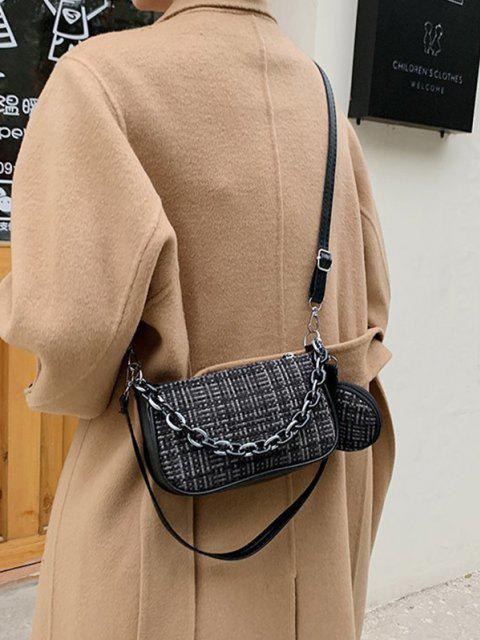 affordable PU Zipper Check Chain Shoulder Bag - BLACK  Mobile