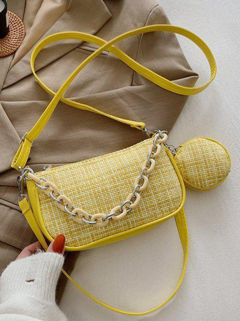womens PU Zipper Check Chain Shoulder Bag - SUN YELLOW  Mobile