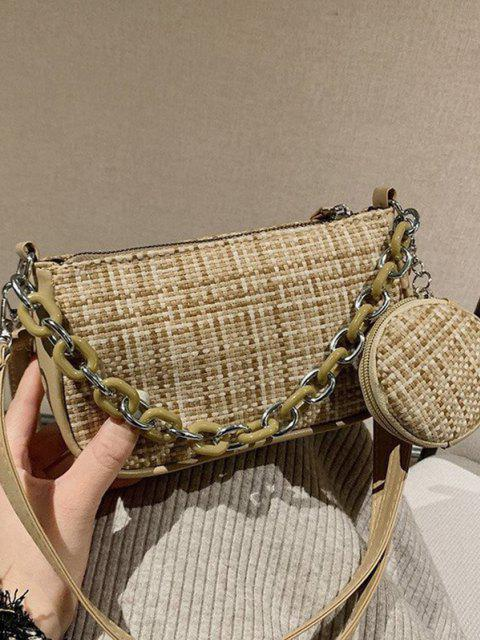 women's PU Zipper Check Chain Shoulder Bag - LIGHT KHAKI  Mobile