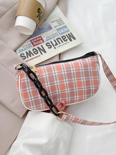 lady Plaid Half Chain Shoulder Bag - PINK  Mobile