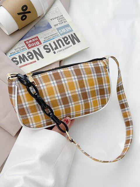 best Plaid Half Chain Shoulder Bag - YELLOW  Mobile