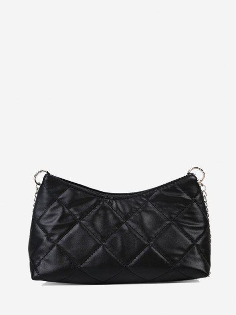 hot Quilted Chain Crossbody Bag - BLACK  Mobile