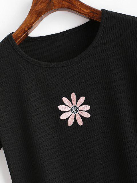 T-shirt Côtelé Fleur Brodée pour Bébé - Noir S Mobile
