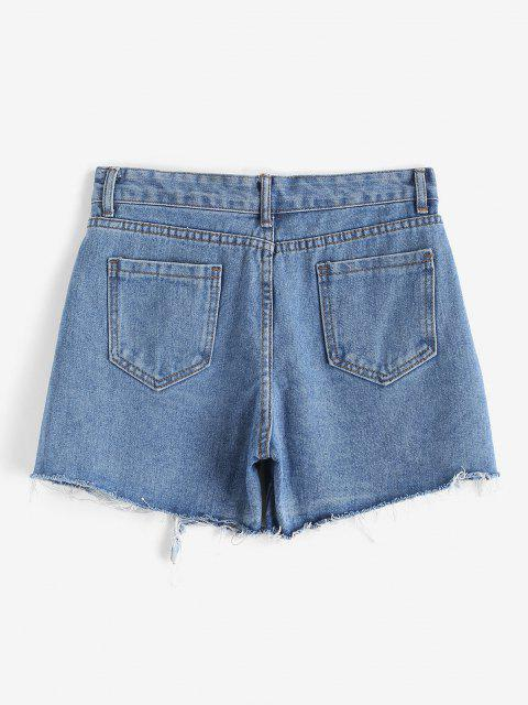 affordable Ripped Frayed Hem Pocket Denim Shorts - BLUE M Mobile