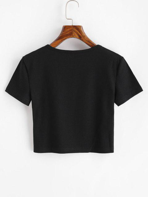 outfits Ribbed Flower Embroidered Baby Tee - BLACK L Mobile