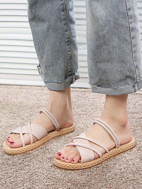 fashion Criss Cross Strappy Slides Sandals - WARM WHITE EU 37 Mobile