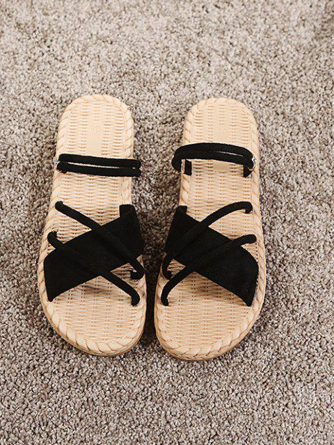 unique Criss Cross Strappy Slides Sandals - BLACK EU 39 Mobile