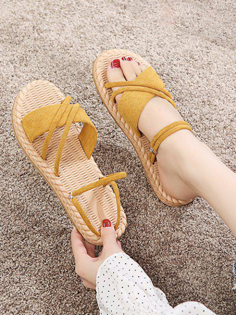 buy Criss Cross Strappy Slides Sandals - SUN YELLOW EU 40 Mobile