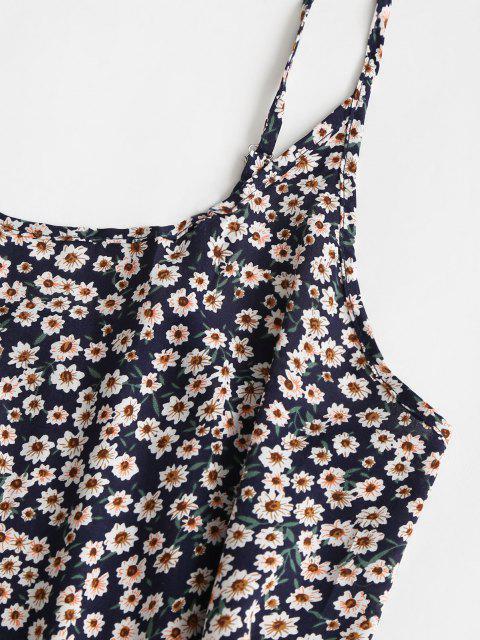 latest Floral Ruffle Hem Mini Dress - DEEP BLUE XL Mobile