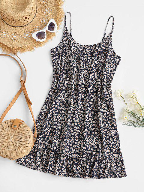fashion Floral Ruffle Hem Mini Dress - DEEP BLUE M Mobile