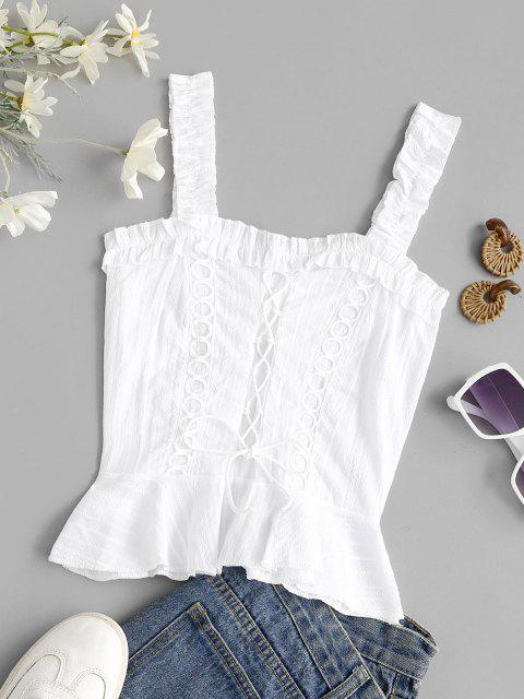 new Lace Up Smocked Ruffle Lettuce Trim Top - WHITE L Mobile