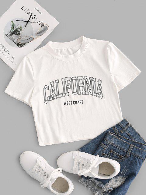 Camiseta Barriga de Fora com Estampa Gráfica Cortado - Branco L Mobile
