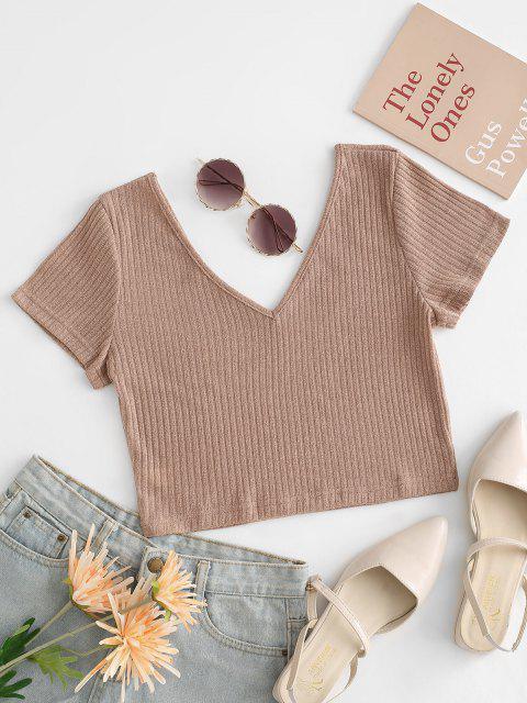 Camiseta de Malha de Costela Cortado Cortado - Café Light S Mobile