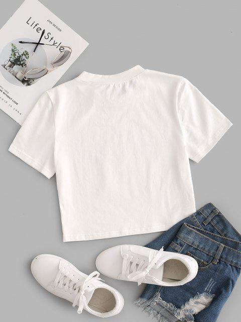 T-shirt Court à Motif - Blanc XS Mobile