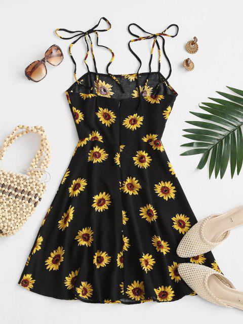 sale Flower Print Tie Shoulder Mini Dress - BLACK XS Mobile