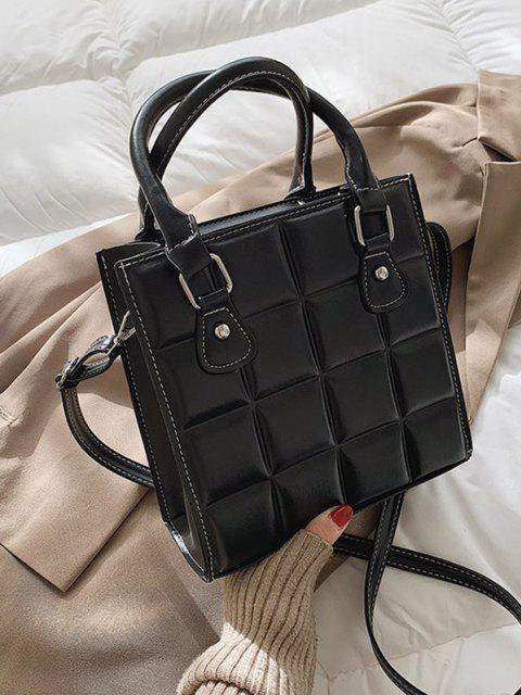 Retro Quadratische Gesteppte Einkaufstasche - Schwarz  Mobile