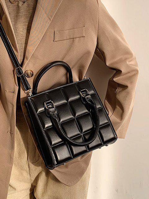 sale Retro Square Quilted Tote Bag - BLACK  Mobile