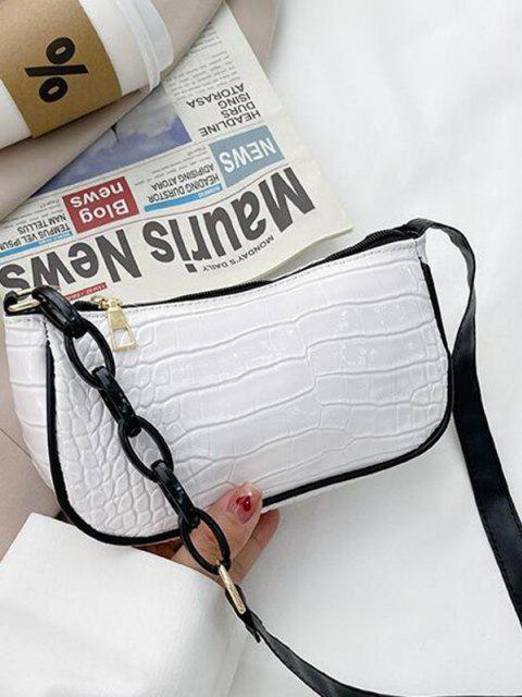 ladies Half Chain Embossed Shoulder Bag - WHITE  Mobile