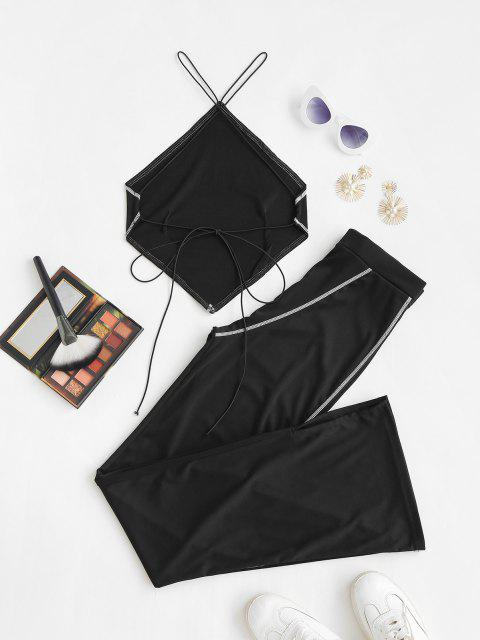 lady Topstitching Bandana Tied Top and Flare Pants Set - BLACK M Mobile