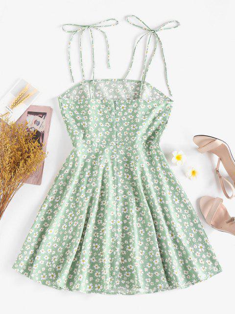 ZAFUL Ärmelloses Kleid mit Ditsydruck und Schulterbindung - Hellgrün L Mobile