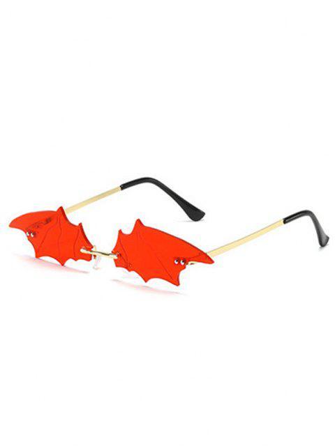 unique Rimless Bat Shape Sunglasses - RED  Mobile