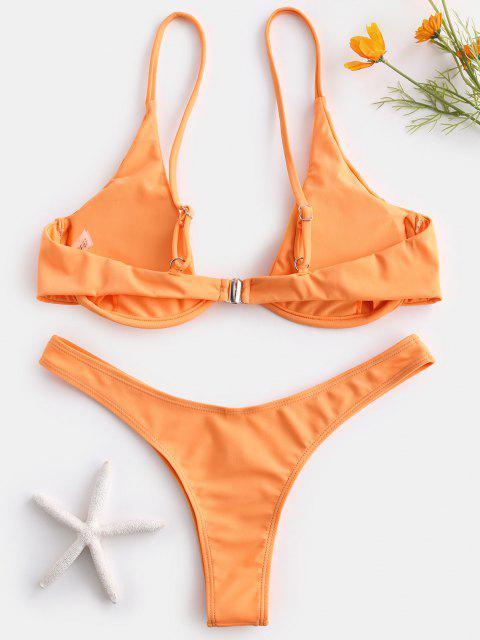 buy Push Up Plunge Bathing Suit - SANDY BROWN M Mobile