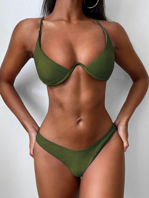 online Push Up Plunge Bathing Suit - GREEN M Mobile