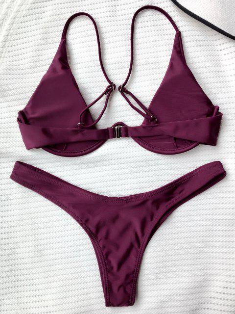 shops Push Up Plunge Bathing Suit - MERLOT M Mobile