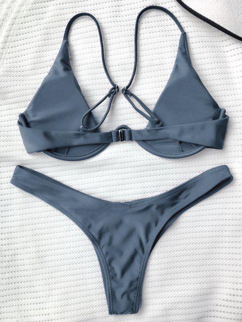 shops Push Up Plunge Bathing Suit - GRAY M Mobile