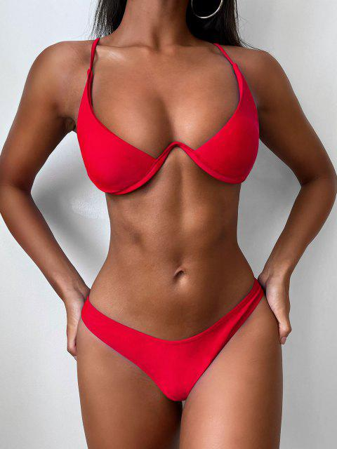 womens Push Up Plunge Bathing Suit - RED M Mobile