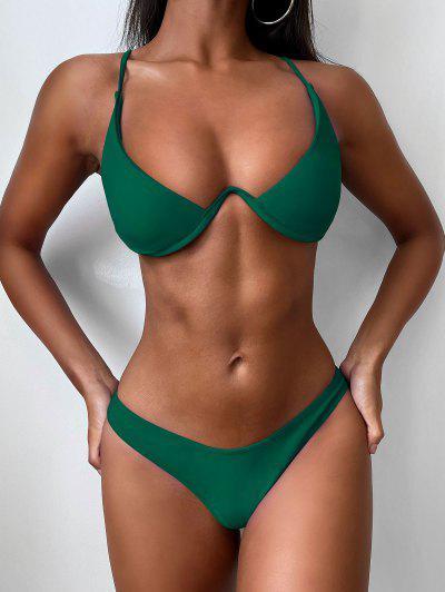 Push Up Plunge Bathing Suit - Medium Sea Green S