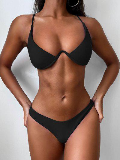 Push Up Plunge Bathing Suit - Black L