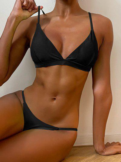 Spaghetti Straps Plunge Thong Bikini Set - Black S