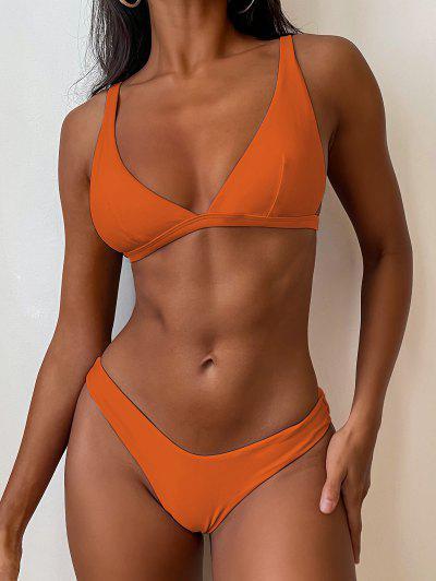ZAFUL High Cut Plunge Bikini Swimsuit - Pumpkin Orange S