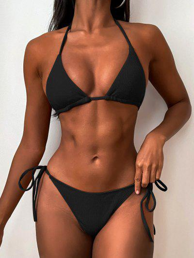 Ribbed String Bikini Set - Black S